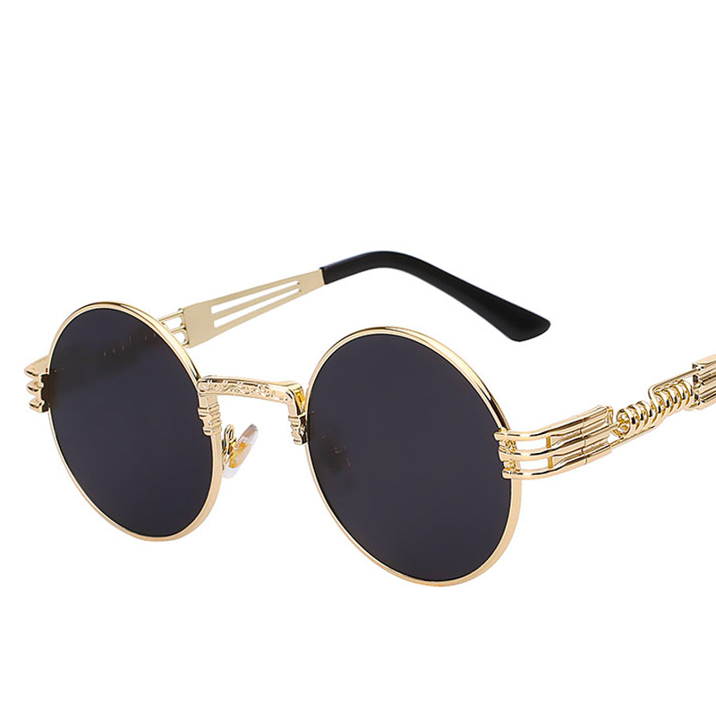 Gothic Steampunk High Quality Sunglasses Men Women Metal WrapEyeglasses Round Shades Brand Designer Sun glasses Mirror UV400