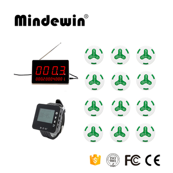 Mindewin Wireless Call Bell System 12pcs Call Waiter Service Button +1pc Display Receiver +1 pc Wrist Watch Pager Wirele