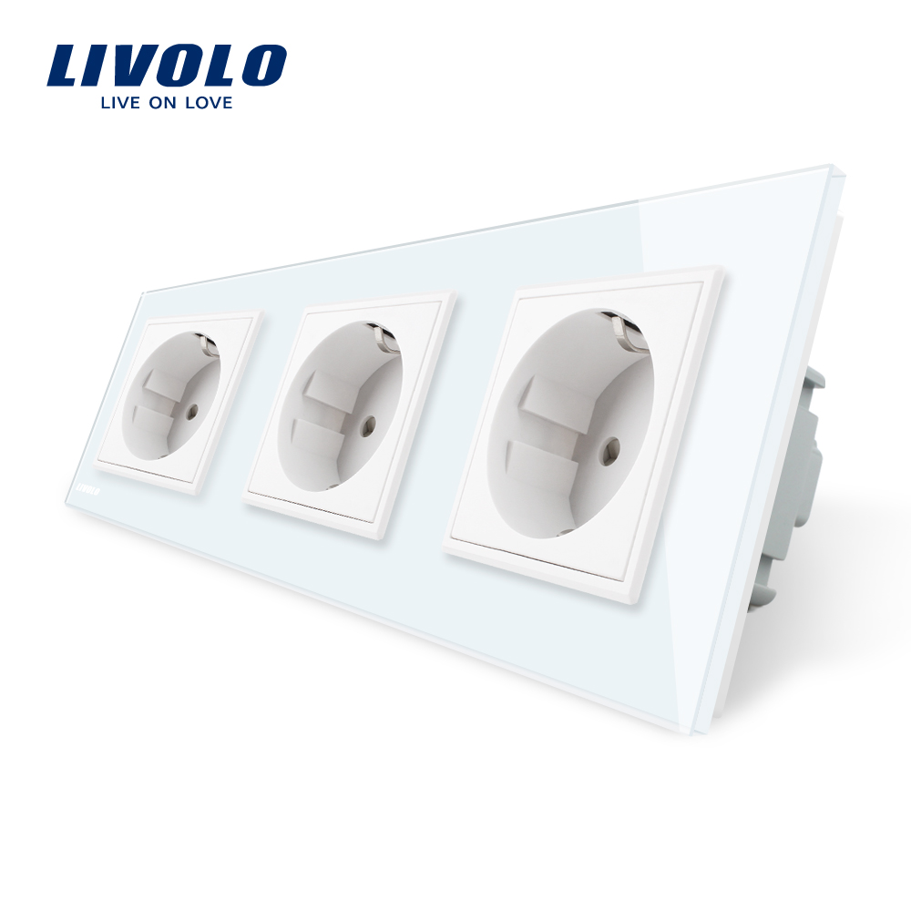Livolo New EU Standard Power Socket, White Crystal Glass Outlet Panel, Multi-function Triple Wall Power Outlet Without Plug atlantic brand double tel socket luxury wall telephone outlet acrylic crystal mirror panel electrical jack