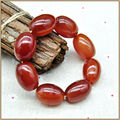 Yumten Large beads Natural Red Agate Bracelet Women Men Romantic Bracelets Barrel Bead Strand Bracelets Lucky Buddha Bracelet