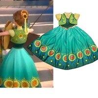 Girl Cinderella Princess Full Dress Frozen Fever Kids Clothing Party Wedding