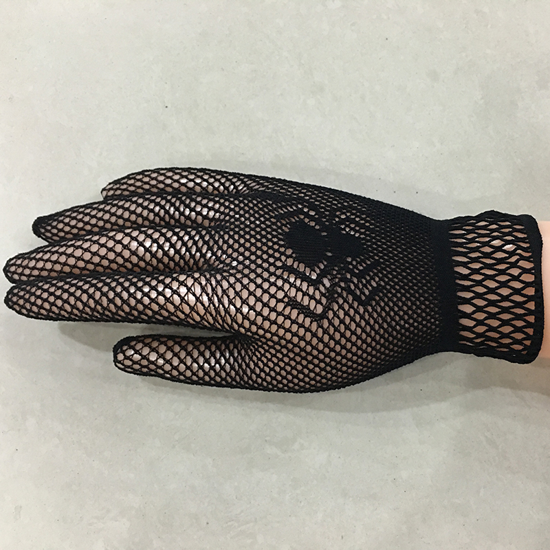2016 Black White Lady Girl Princess Sexy Disco Dance Costume Party Lace Finger Fishnet Mesh Short Mittens Gloves 133
