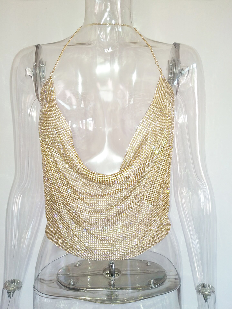 3ea39744 Bonnie Forest Crystal Mesh Top Womens Diamond Metal Crop Top 2017 Sexy Gold Plain  Sparkly Sequin Draped Chain Backless Club Vest 17,68 €