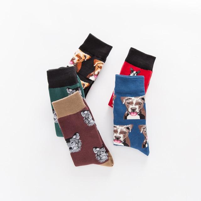 Jhouson 1 pair Colorful Men's Combed Cotton Funny Skateboard Socks Dog Pattern Novelty Casual Dress Crew Fashion Wedding Socks 4