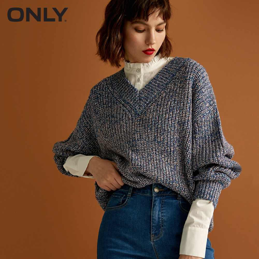 ONLY Women's Shiner Loose Fit V Neckline Knit Sweater|118313548
