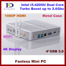8G RAM+128G SSD Fanless Mini PC Micro Computer Haswell Intel Core i5-4200U,Intel HD4400 Graphics, 4K HD HTPC,USB 3.0,