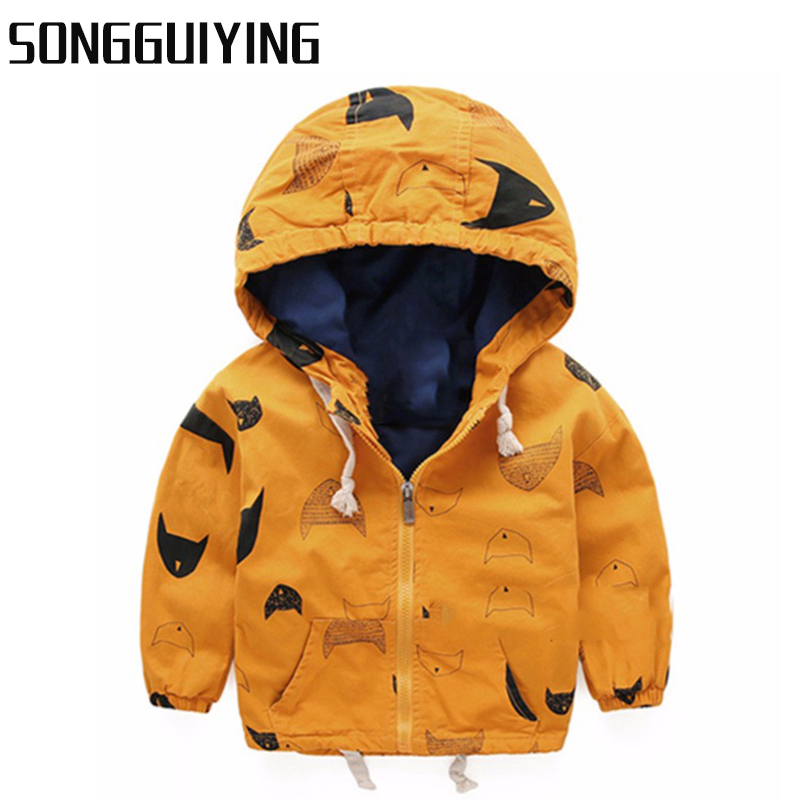 SONGGUIYING A06 Kids Toddler Boy Jacket Spring Autumn Hooded Coat Baby Clothes for Children Boys Outerwear Windbreaker Clothing