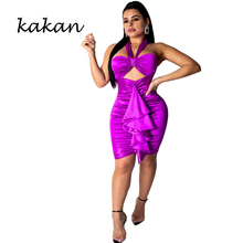 Kakan spring new womens dress hanging neck wrapped chest ruffled sexy halter openwork purple
