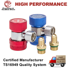 R134A Manifold Gauge Hose Set Freon Quick Coupler High & Low Adapters Type A/C Conversion Kits, 1/4 SAE HVAC