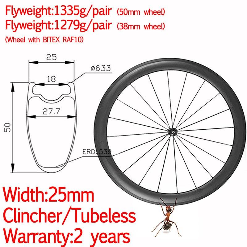Larghezza di 25 millimetri super leggero ruote in carbonio della bici della strada della graffatrice tubeless ceramica hub ad alta TG pilastro 1420 38 millimetri/ 50 millimetri di strada della bicicletta ruote