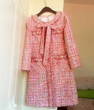 2019 Fall high quality womens tweed dress Chic elegant slim fit autumn A568
