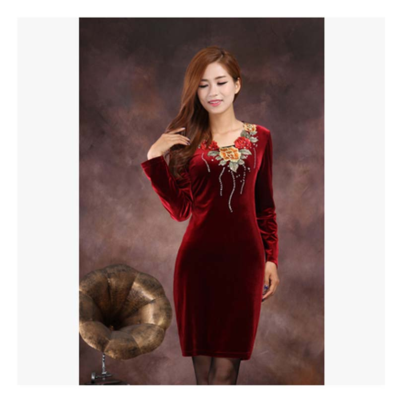 Autumn women Fashion gold velvet spring Dress Europe Style long sleeve  Casual plus size Purple Dress 5 XL vestido curto AE1008-in Dresses from  Women\'s ...