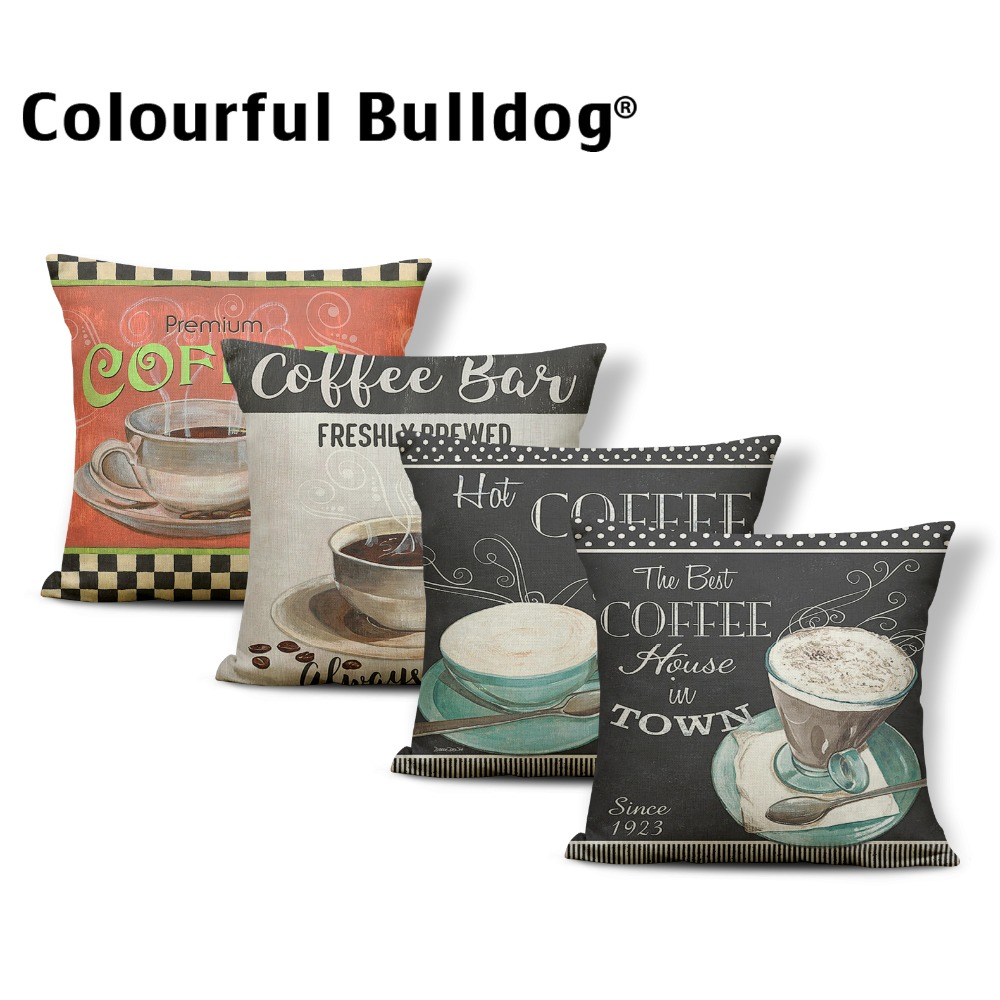 French Coffee Cushion Cover Pillow Case Man Cave Pillow Couch Vintage Decorations Dakimakura 45X45Cm Polyester / Linen Painted