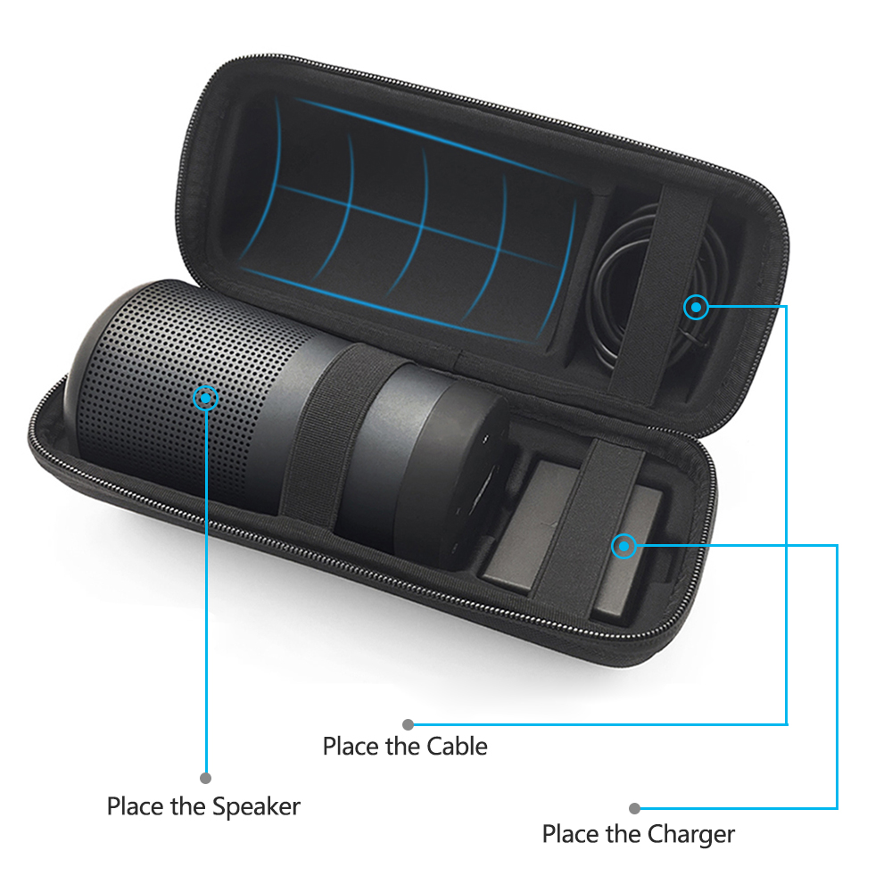 New PU Travel Case For Bose Soundlink Revolve Case EVA Carry Protective Speaker Box Pouch Cover Extra Space For Plug & Cables