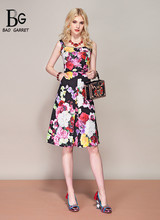 Bao Garret New Hot 2019 Fashion Runway Summer Dress Womens Spaghetti Strap Vintage Floral Print Party Midi Elegant