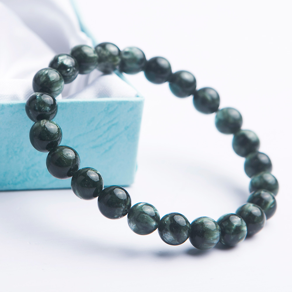 Top Quality Natural Green Seraphinite Gemstone Bracelet 8mm For Women Men Power Seraphinite Crystal Round Beads Bracelet AAAAA