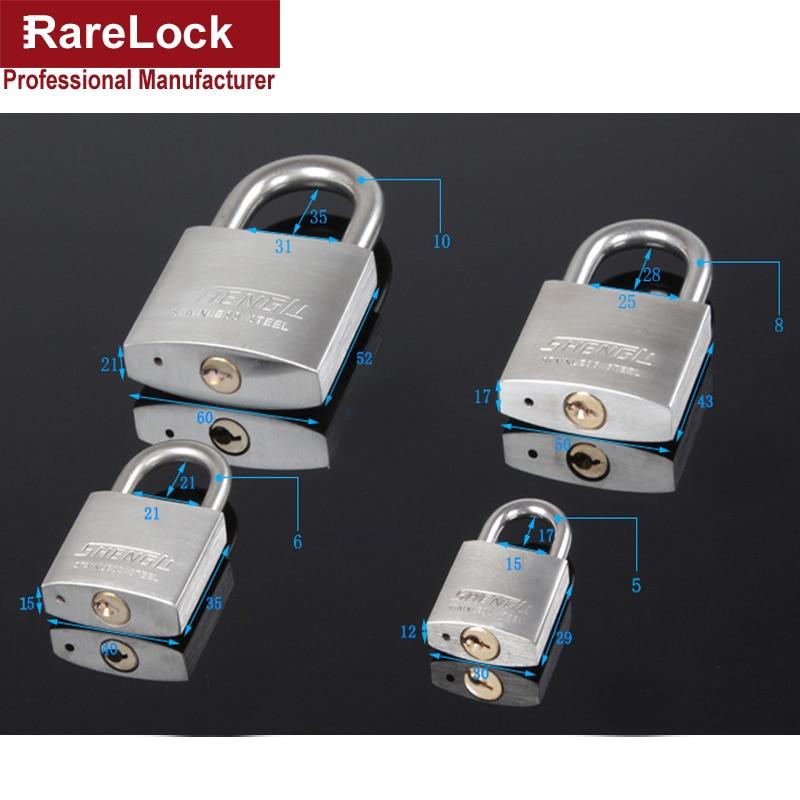 Купить с кэшбэком 304 Stainless Steel Padlock with 2 Keys 30,40,50,60mm for Drawer Door Cabinet Lock DIY Furniture Hardware Rarelock a