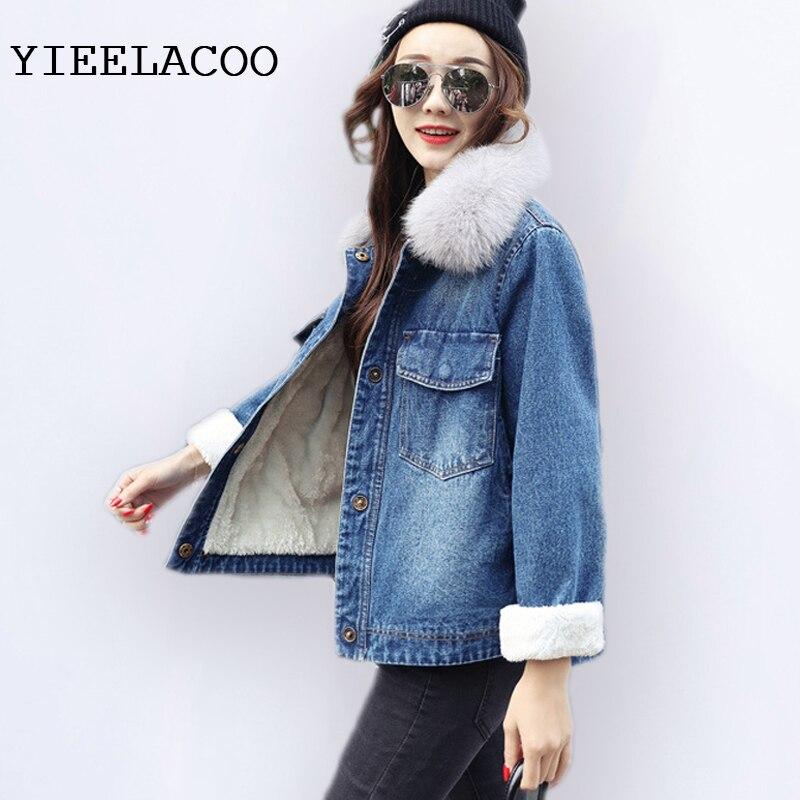 Laine Bleu Denim Femmes Plus Paragraphe Velours Agneaux Épais Coton Sauvage Mince Vestes D'hiver Court Femelle Veste Le qapXpHU