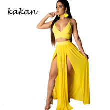 Kakan summer new womens dress two-piece sexy high slit chiffon harness yellow black rose red