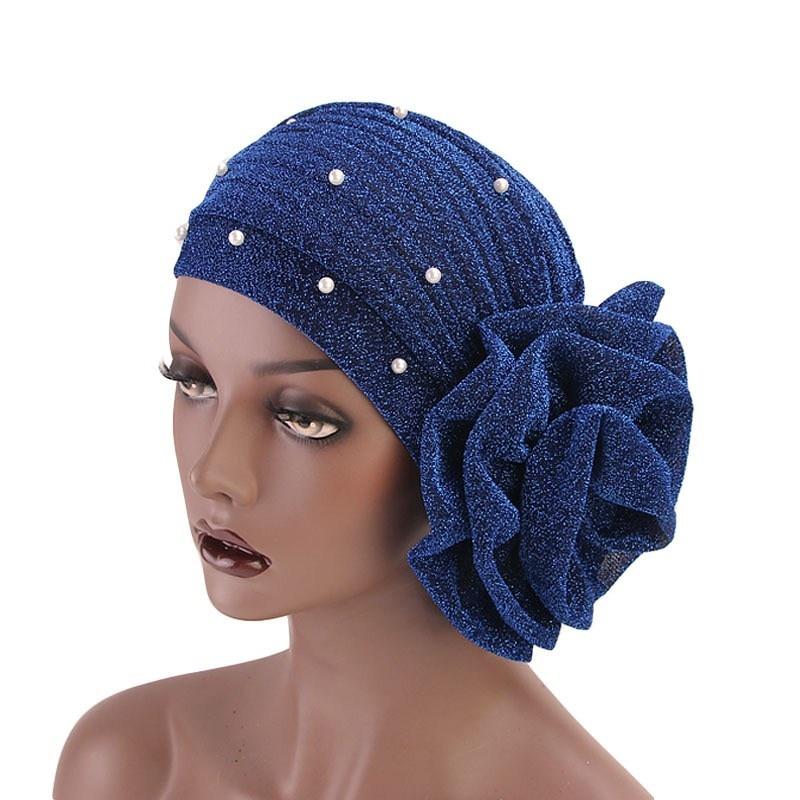 479966d69 3 piezas de Turbante de flores con cuentas para mujer sombrero para la  pérdida de cabello gorra musulmana Turbante fiesta Hijab accesorios para el  cabello