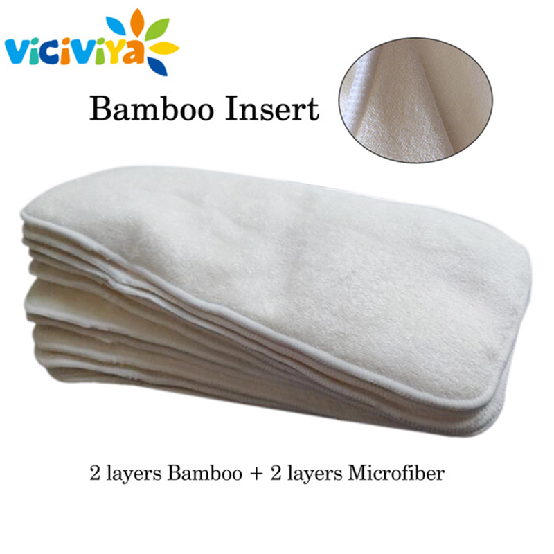 4 Layers Bamboo & Microfiber Inserts For Baby Cloth Diapers Mat Reusable Washable Breathable Nappy Insert Changing Liners