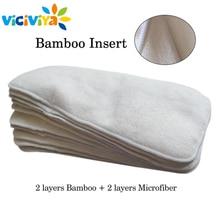 4 capas insertos de bambú y microfibra para bebé pañales de tela estera reutilizable lavable transpirable pañal cambio de revestimientos