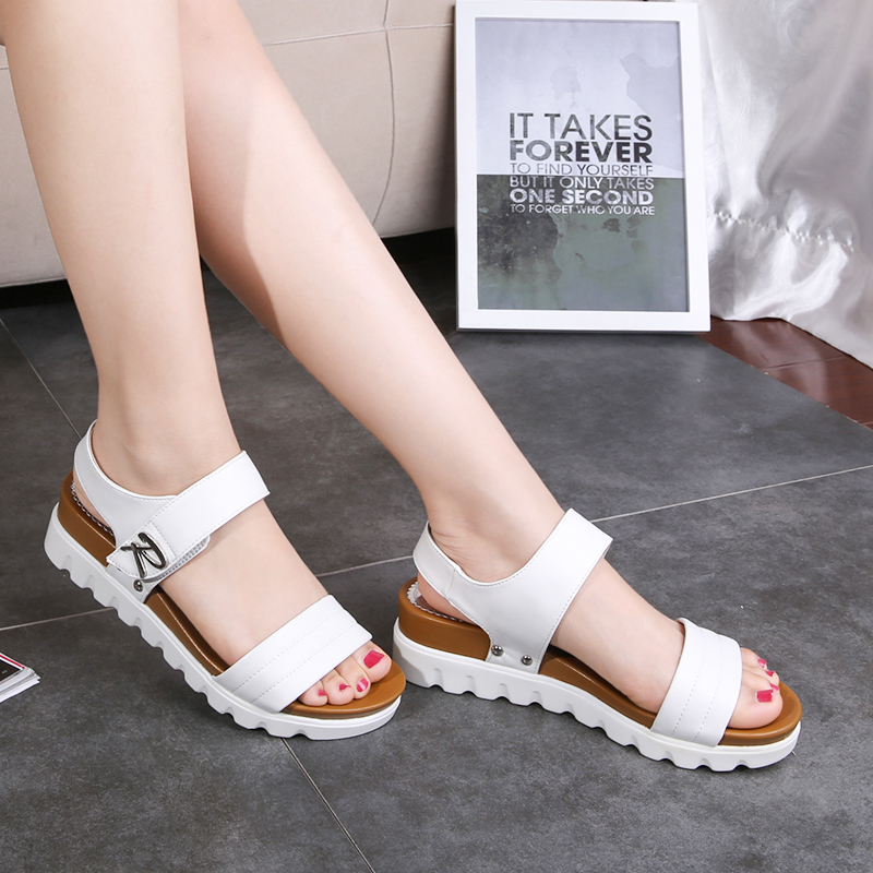Mazefeng Sandals Wedges Simple-Style Summer Women Ladies Solid Loop Casual Hook New-Fashion