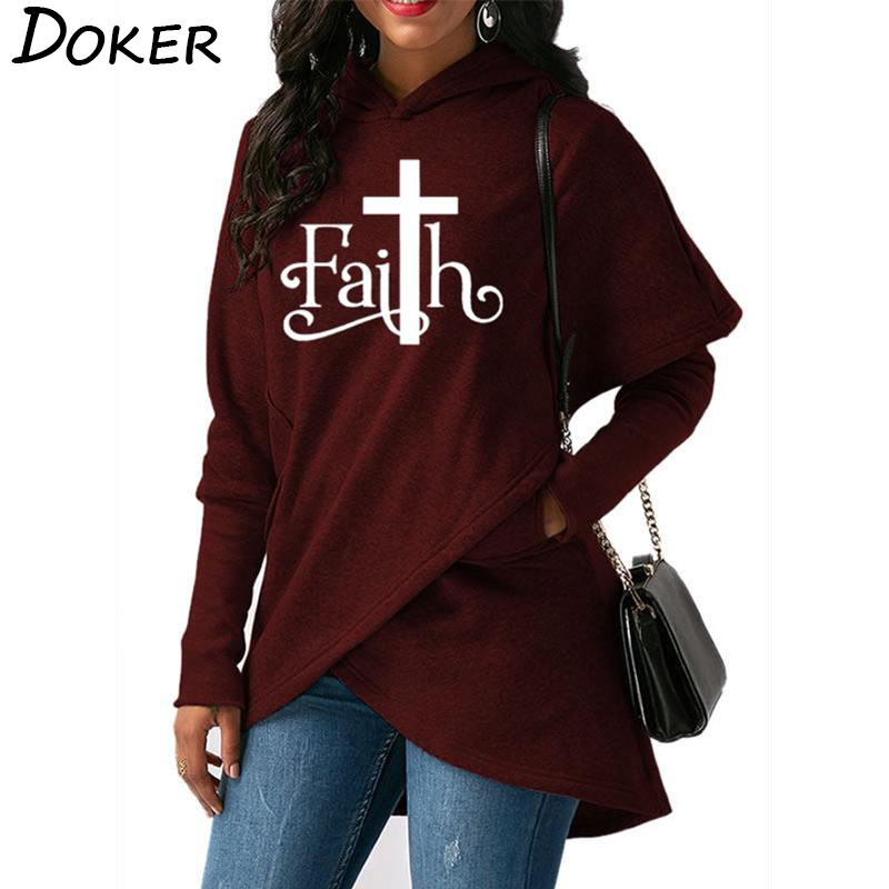 2018 Herbst Neue Glauben Brief Drucken Mode Hoodies Sweatshirts Frauen Mit Kapuze Pullover Sweatshirt Weibliche Casual Warme Tops 6 Farben