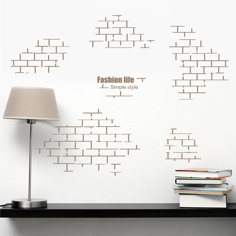 Shijuehezi wall sticker brick retro geometry square for Brick wall mural decal
