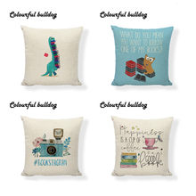 Cute Style Cushion Cover 45*45 Cm Dinosaur Book Camera Pattern Pillowcase 4 Piece Set Home Living Room Sofa Bedroom Bed Decorate(China)