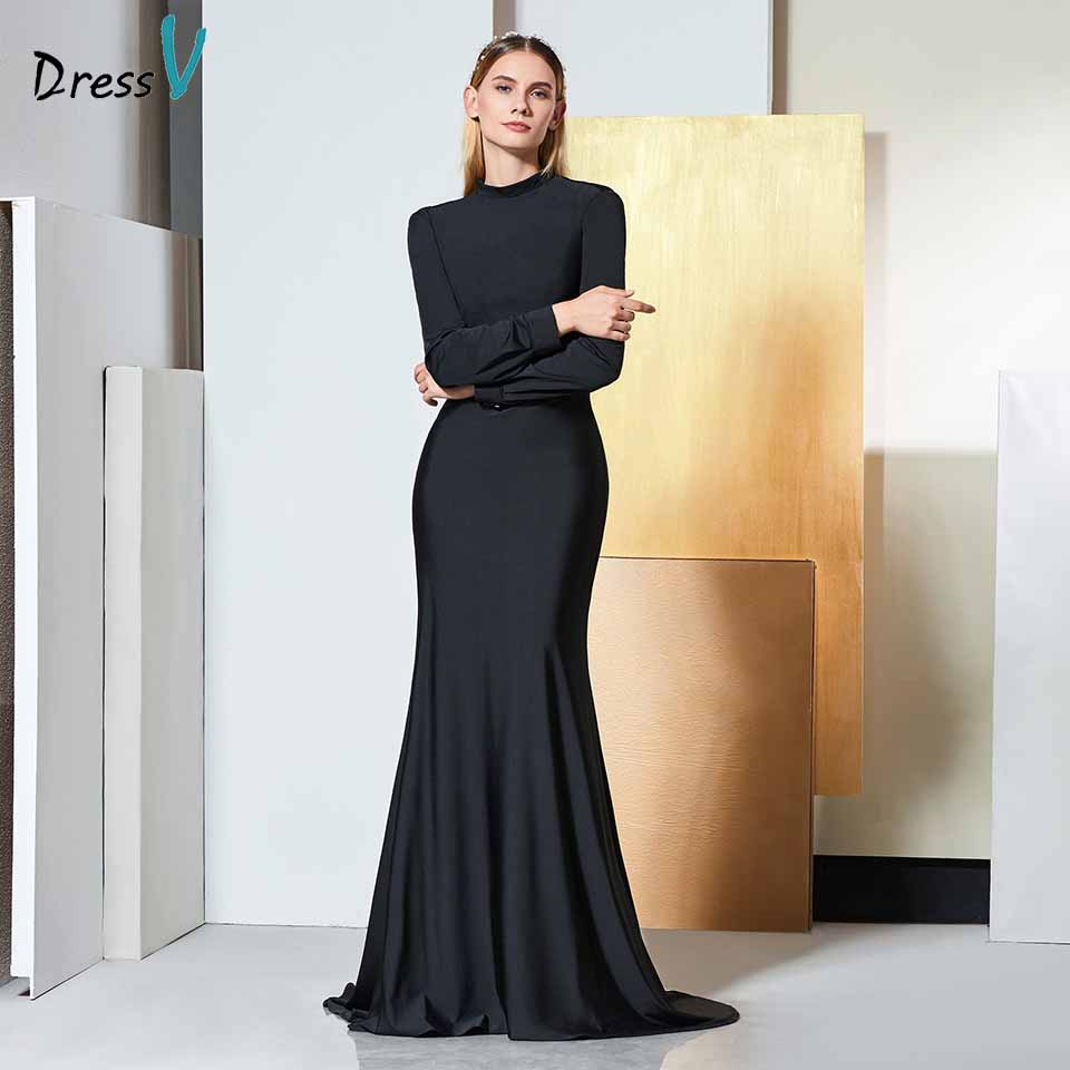 Dressv Black Evening Dress High Neck Long Sleeves Mermaid Draped Floor-length Wedding Party Formal Dress Evening Dresses