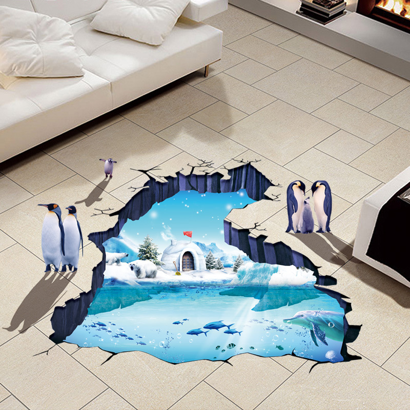 Penguins 3D Wall Papers Vinyl Material Removable Glacial Trail Wall Floor Stickers for Kids Room Washroom Decoration Wallpapers removable colorful christmas penguins children s room wall stickers