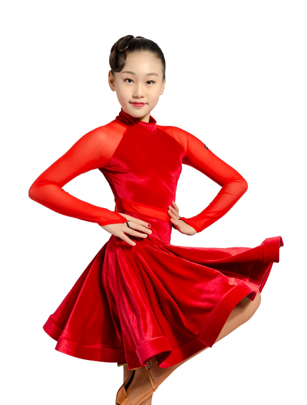 GD3102 kid latin ballroom party dance professionnel net fil et velours épissage conception performance robe pour fille - 3