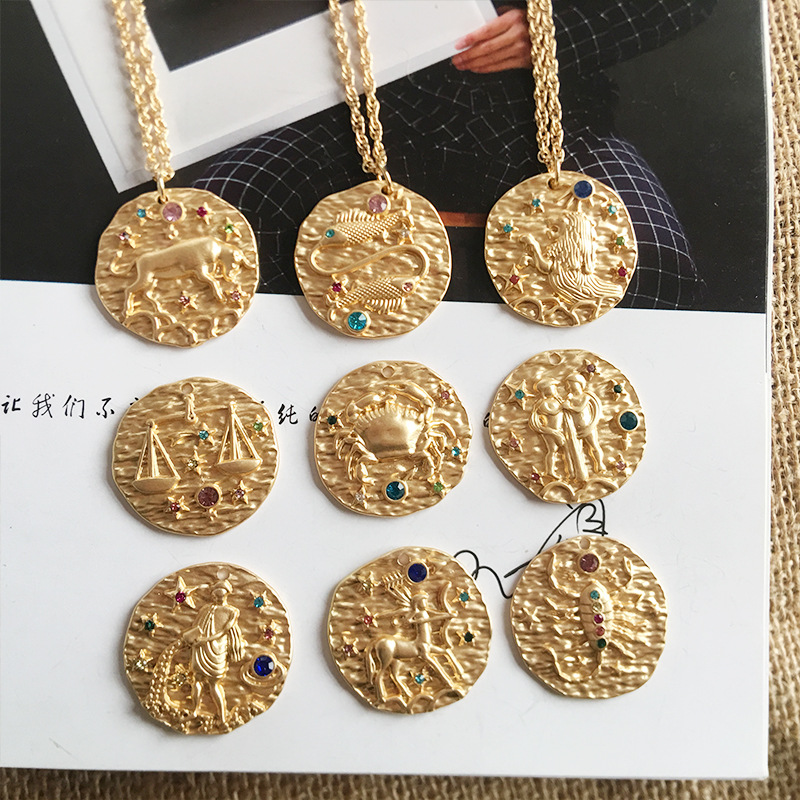 Chain Coin Stud Tack Ornamentation 4 Pieces VINTAGE BRASS PLATED 41mm x 26mm