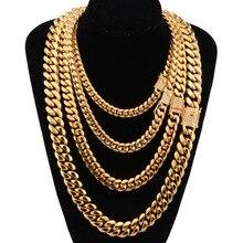 6 18mm geniş paslanmaz çelik küba Miami zincirler kolye CZ zirkon kutusu kilidi büyük ağır altın zincir erkekler Hip Hop kaya takı