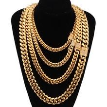 6 18mm szerokości kubańskie Miami łańcuchy naszyjniki CZ cyrkon Box blokada duży ciężki złoty łańcuch dla mężczyzn Hip Hop Rock biżuteria