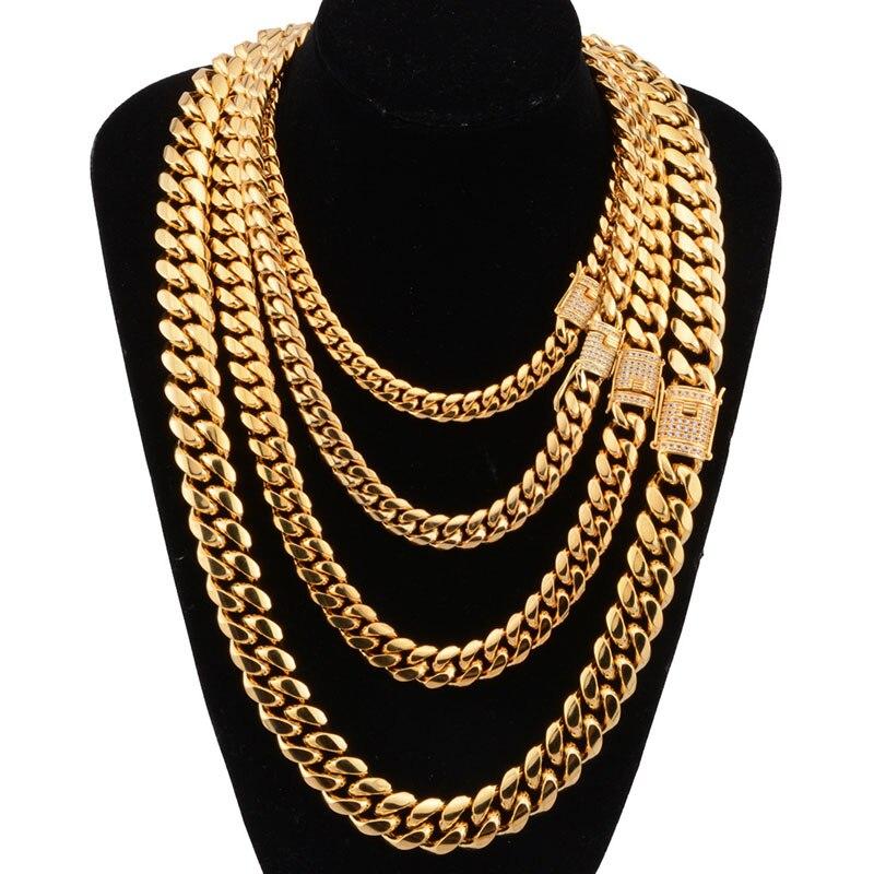 8-18mm breite Edelstahl Kubanischen Miami Ketten Halsketten CZ Zirkon Box Sperren Big Schwere Gold Kette für männer Hip Hop Rock schmuck