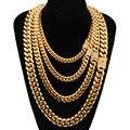 8-18mm de largura de aço inoxidável cubana miami correntes colares cz zircon caixa bloqueio grande pesado corrente de ouro para homem hip hop rock jóias