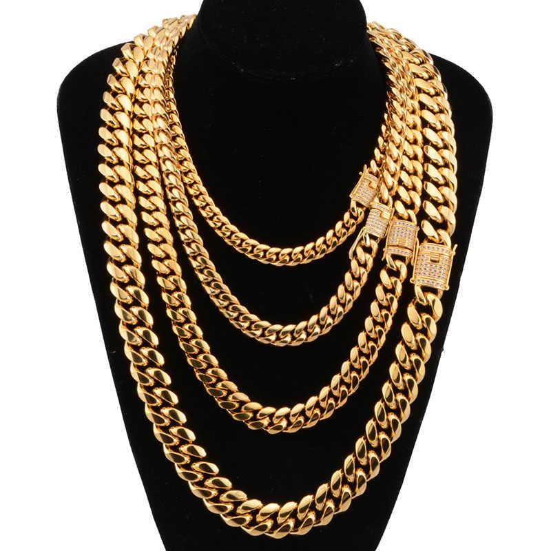 8-18mm szerokości kubańskie Miami łańcuchy naszyjniki CZ cyrkon Box blokada duży ciężki złoty łańcuch dla mężczyzn Hip Hop Rock biżuteria