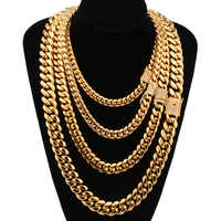 8-18mm wide Stainless Steel Cuban Miami Chains Necklaces CZ Zircon Box Lock Big Heavy Gold Chain for Men Hip Hop Rock jewelry