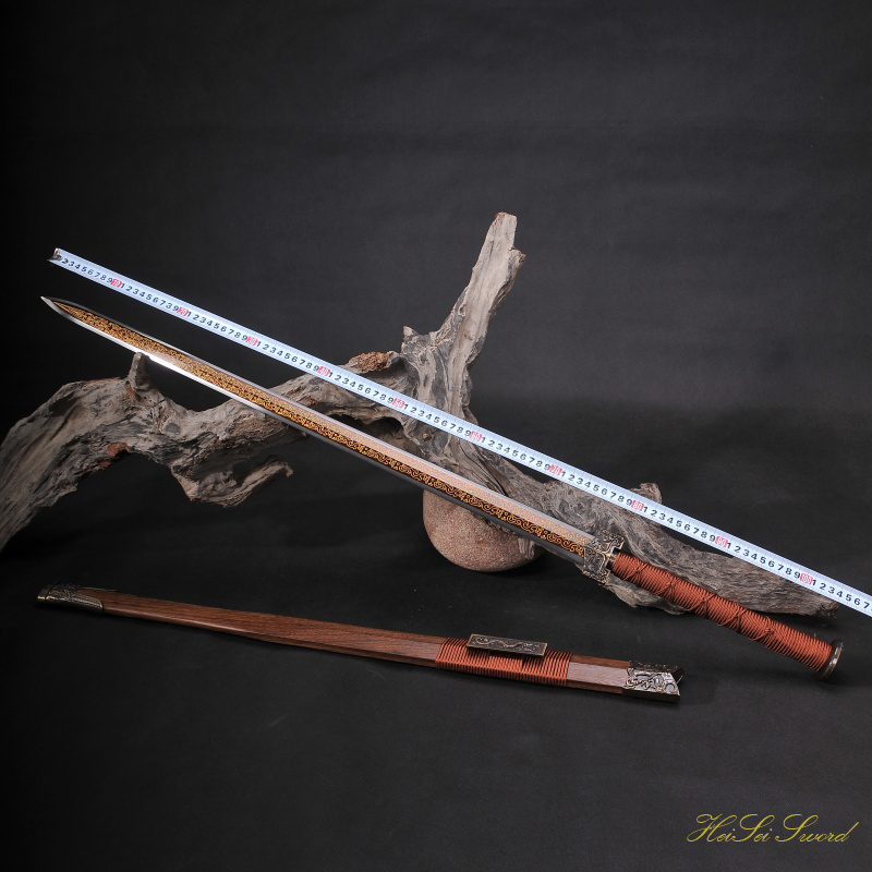 Hand Forged Chinese Han Folded Steel Sword Reding Gilt Blade Sharp Edge Real Sword Vintage Best Gift