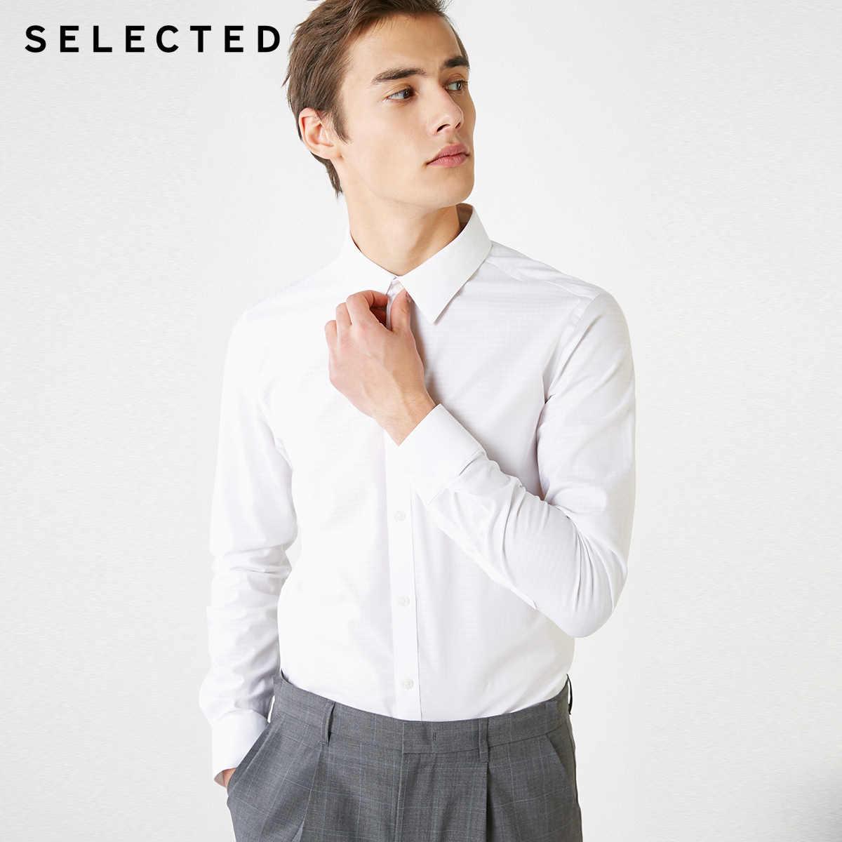 SELECTED Men's Dark 슬림 피트 긴팔 기질 비즈니스 캐주얼 셔츠 T | 419105505