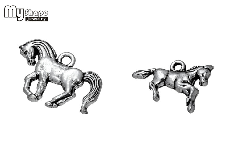 my shape 20pcs/lot Horse Toy Zinc Alloy Tibetan Silver Plated Charms Running Horse Ridin ...