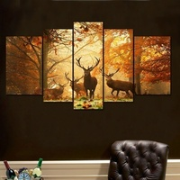 No Frame 5PCS Deer Wall Painting Modern Tree Canvas Painting Art Animal Wall Picture Home Decor