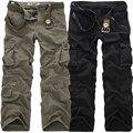 2018 de Alta Qualidade calças da Carga Dos Homens Calças Compridas Calças Casuais Calças Soltas de Multi Bolso Militares para Homens Camo Corredores Bonés tamanho 28-40