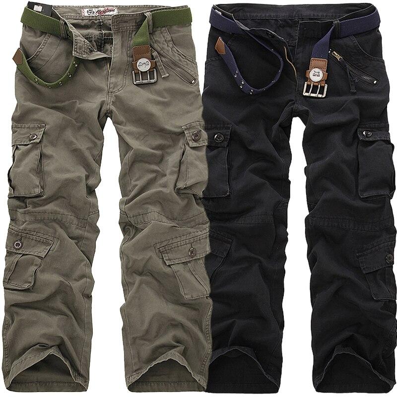 2018 hohe Qualität männer Cargo Hosen Beiläufige Lose Multi Pocket Military Hosen Lange Hosen für Männer Camo Jogger Plus größe 28-40