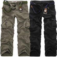 BULUOLANDU 2017 High Quality Men's Cargo Pants Casual Multi Pocket Military Pants Long trousers for men Plus Size 28-40