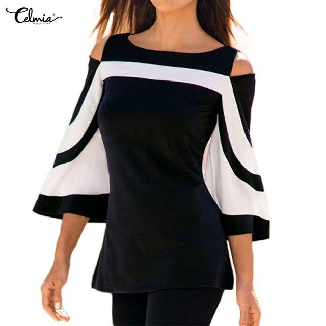 Celmia Plus Size Women Cold Shoulder Tops Blouse Female Shirt Casual ...