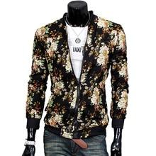 2017 Brand Clothing Jeacket Male Floral Peint jacquard jacket Slim Fit Coat leisure wild cardigan stylish jacket Short Overcoat
