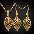 Drop Earrings Necklaces Set For Women gold Plated Rhinestone Fashion Crystal Leaf Bridal Jewelry Sets PE078